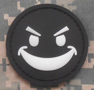 PVC GLOW EVIL SMILEY FACE GITD MORALE SWAT OPS VELCRO®HALLOWEEN FASTENER PATCH