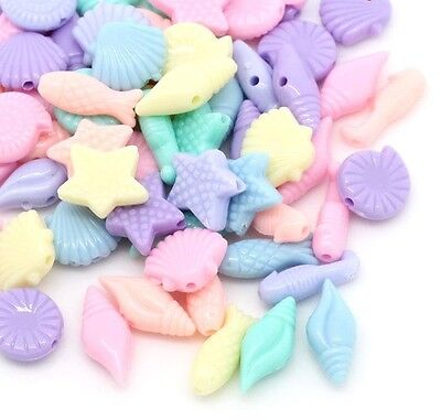 100 Underwater Sea Pastel Beads Acrylic-Shell Seahorse Fish Approx 11mm J28557V