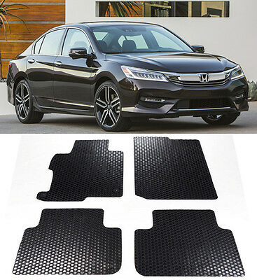 4 Pcs All Weather Black Rubber Floor Mat Front Rear For 13 17 Honda Accord 4D