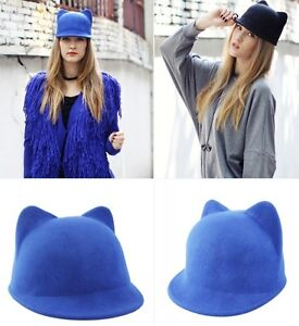 ... -Fashion-Unique-Lovely-Cute-Kitty-Cat-Ears-Wool-Derby-Bowler-Hat-Cap