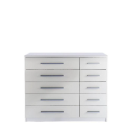 White 5 + 5 wide chest of drawers