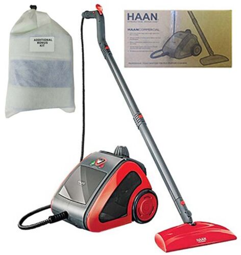 Haan Commercial Steam Cleaner With Bonus Accessory Kit, Red & Gray
