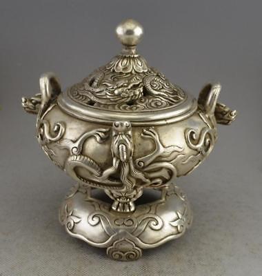 China silver finely dragons decorative pattern incense burner censer Statue