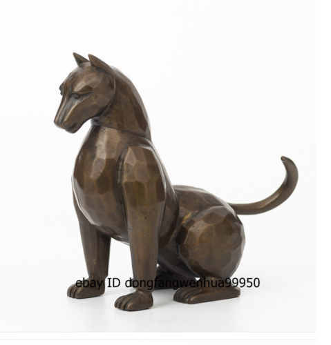 17 cm Western art deco pure Red Copper leopard panther abstract Animal sculpture