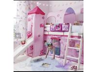 White Mid sleeper / cabin bed with slide