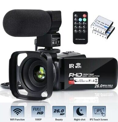 Video Camera Camcorder WiFi FHD 1080P 30FPS 26MP YouTube Vlogging Camera