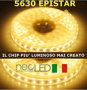 Striscia led strip 5630 luce calda 3000k 5m 300 led chip for Luce led striscia