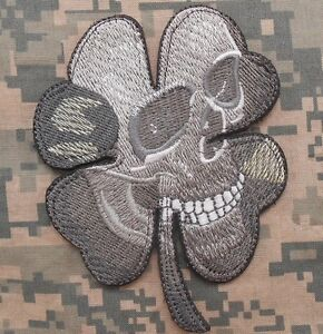PIRATE SKULL CLOVER TACTICAL US ARMY MORALE MILSPEC SPECIAL OPS ACU VELCRO PATCH