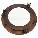 "Iron Metal Ship's Porthole Mirror 11"" Antiqued Brown Finish Nautical Wall Decor"