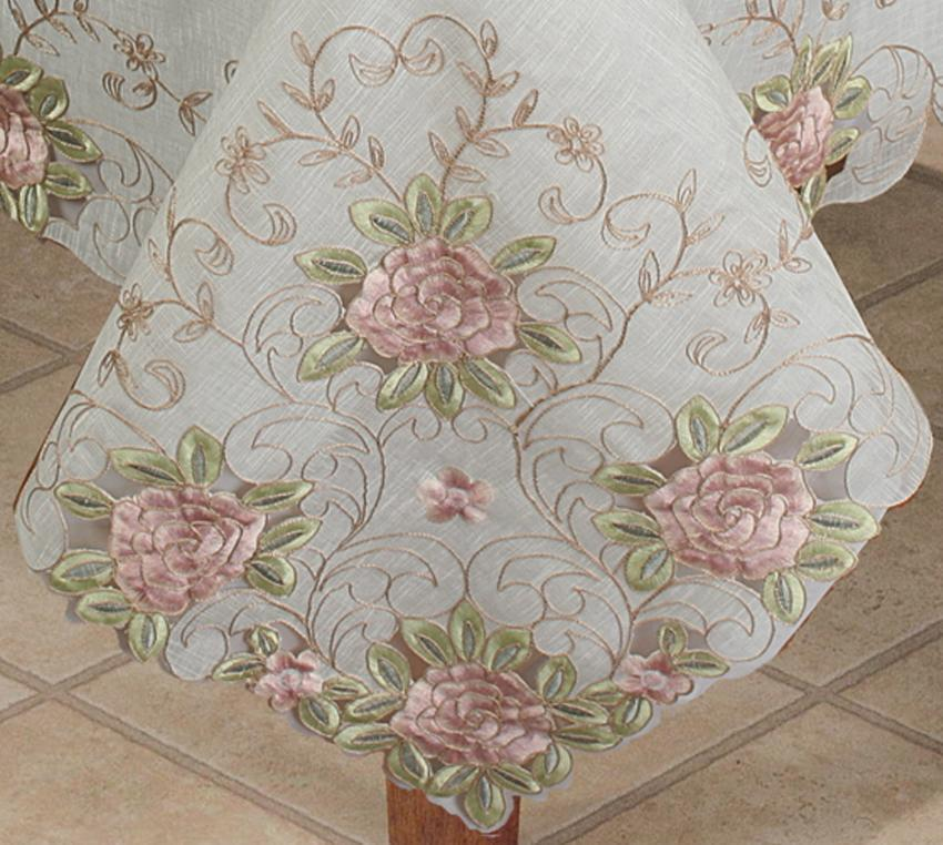 Spring Embroidered Pink Rose Floral Cutwork Sheer  : Spring Embroidered Pink Rose Floral Cutwork Sheer Tablecloth 57 from picclick.com size 850 x 762 jpeg 102kB