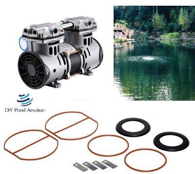 New Vacuum Pump Air Pond Compressor 12hp 3cfm 72 Psi Rebuild Kit 2yr Warranty
