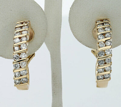 14k Gold J Hoop Clip - Diamond J hoop earrings 14K yellow gold channel round brilliant 1.44CT clip on!