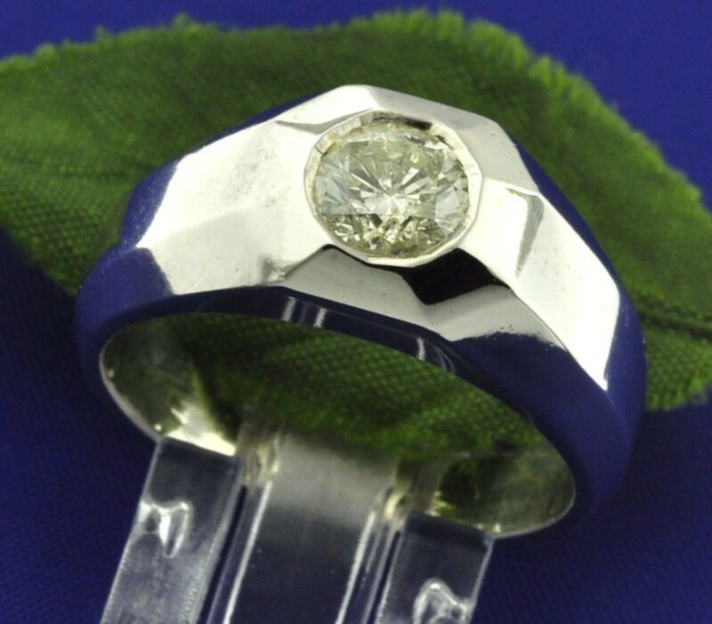 0.92 Ct 14k Solid White Gold Men