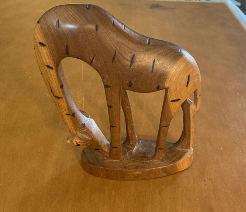 """Hand Made Wooden Giraffe Figurine 7 3/4"""""""