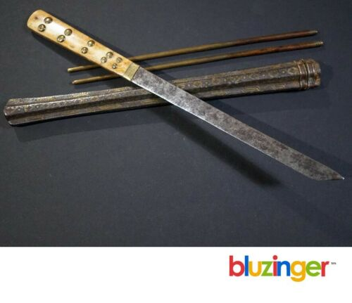 Rare Antique Chinese Trousse Chopsticks / Knife w/ Silver & Brass Inlay + 2nd
