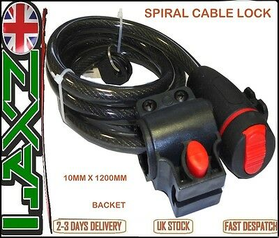BICYCLE MOUNTAIN BIKE CYCLE SAFETY SPIRAL CABLE LOCK 1.2 METER 10 MM + Bracket