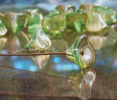 Chrysolite Celsian Three Petal Czech Flower Cup Glass Beads 12 New Arrivals