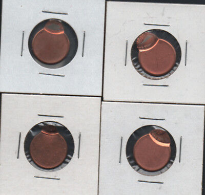FOUR(4)95% OFF-CENTER MINT ERROR BU LINCOLN PENNIES-A RARE FIND-LESS THAN $4 /ea