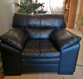 Black leather sofa and arm chair.