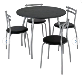Brand new black round dining table and 4 chairs