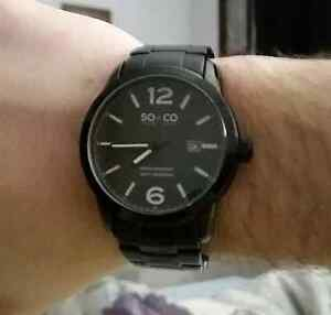 SO & CO Black Steel Watch