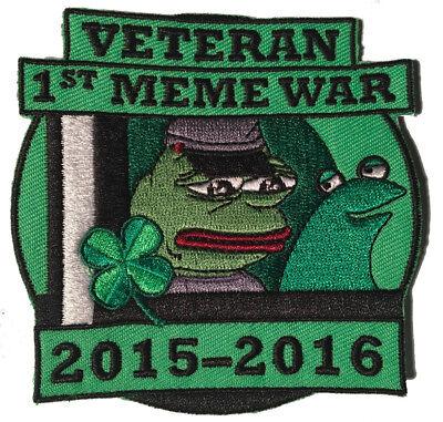 Pepe Veteran of First Meme War Patch, Pepe frog Kekistan Shadilay 4chan Kek