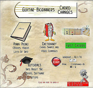 Guitar Beginners Chord Changes - lessons on USB drive