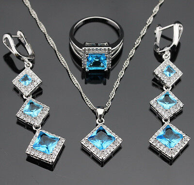 Square Blue Topaz Jewelry Set Women 925 Silver Necklace Pendant Earrings Ring