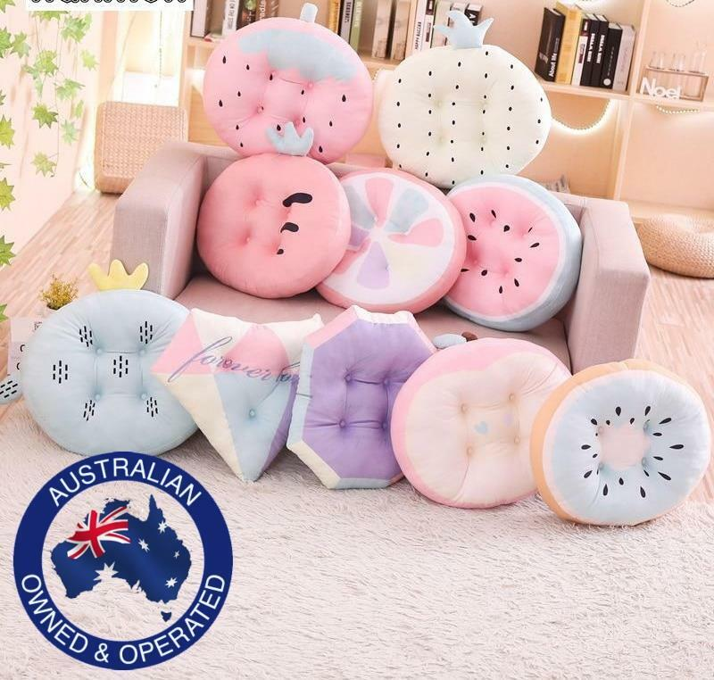 Soft Pastel Fruit Shapes Plush Pillows For Baby Nursery Bedroom Chair Decor