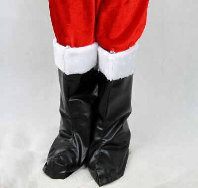 Faux Fur Trim Santa Claus Boots Christmas Masquerade Costume Accessories USA - Santa Costume Boots
