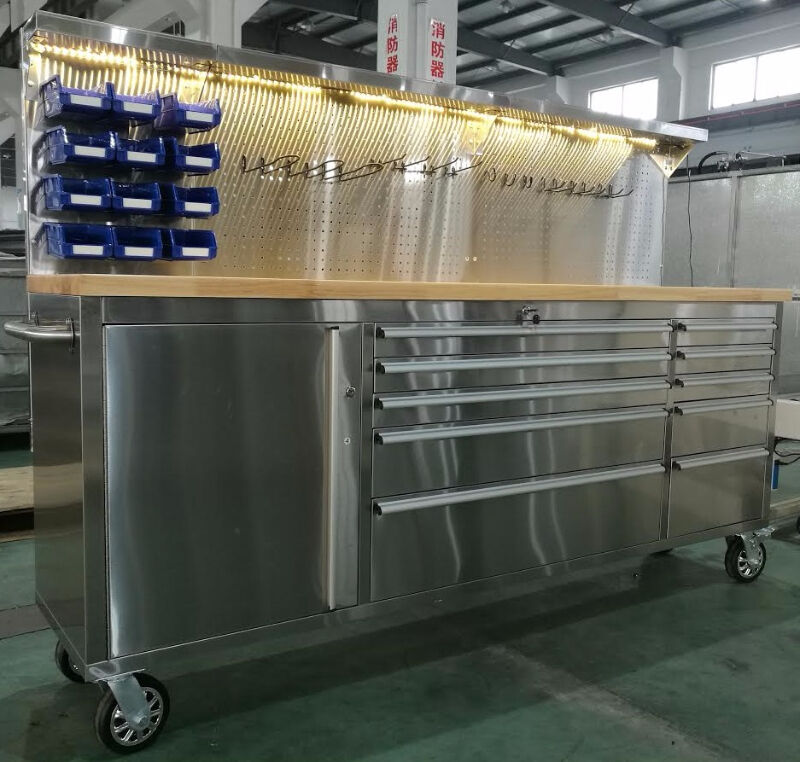 """NEW 84"""" 11 DRAWER STAINLESS STEEL WORK TOOL BENCH BOX LED"""