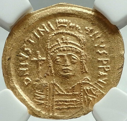 JUSTINIAN I the GREAT 527AD Ancient Byzantine Gold Solidus Coin NGC MS i66183