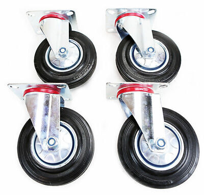 5 Rubber Caster Base Swivel Wheel Steel Plate Heavy Duty Bearing Pack Of 4pcs