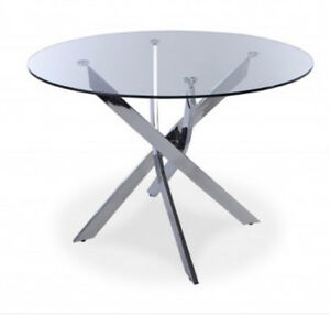 EUC tempered glass top table with chrome base and 4 chairs