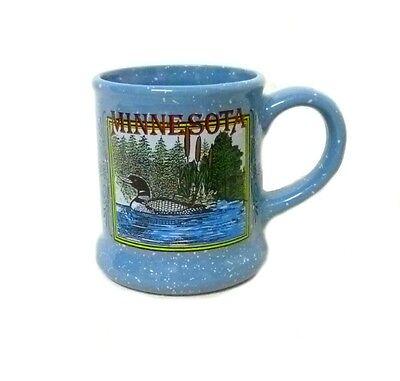 Vintage Common Loon Bird Water Cat tails Picture Blue Speckle Cup Mug Souvenir