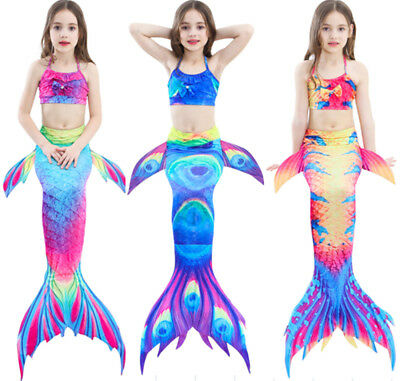 Mermaid Tail Swimmable Swimming Bikini Swimear Swimsuit Costumes For Kids Girls (Mermaid Costume For Kids)