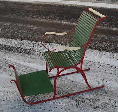 alter Eisen Kinder Schlitten Stuhlschlitten Eisschlitten Ziehschlitten um 1900