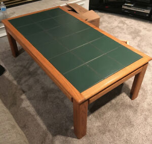 Oak coffee table and end table