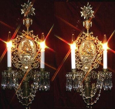 PR Cameo cherub Urn Rose brass bronze sconce lamp crystal prism Vintage castle
