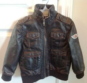 Boy's Aviator Bomber Faux Brown Leather Jacket - Size 2T