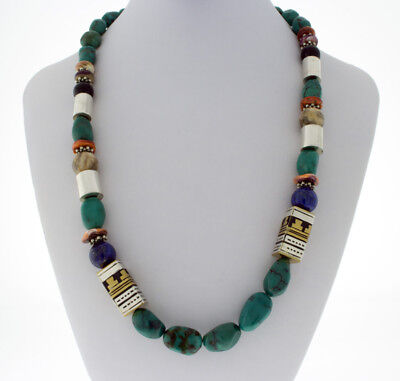 Kingman Turquoise Nugget And Bead Necklace By Navajo Artist Rose Singer