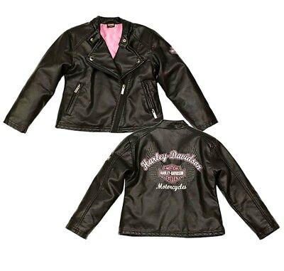 Harley-Davidson® Girls Pink Bar & Shield Faux Leather Black Biker Jacket - Girls Pink Jackets