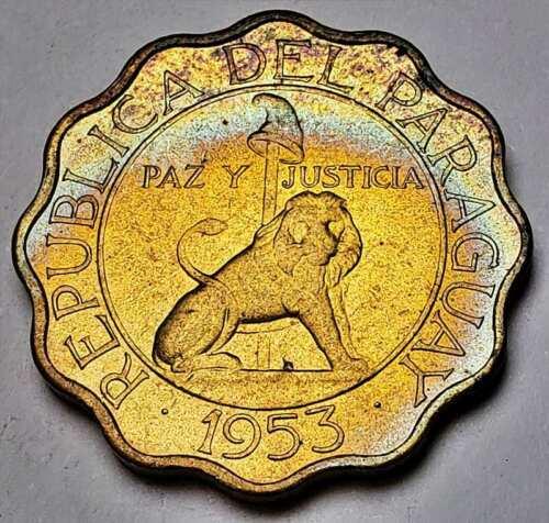 1953 PARAGUAY 50 CENTIMOS UNC BU FLAWLESS GEM NEON BLUE TONED COLOR (DR)