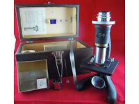 VINTAGE BECK SIMPLEX 1663 MICROSCOPE WITH SLIDES AND FITTED BOX