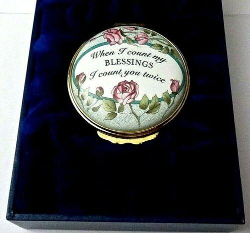 "Halcyon Days  Enamel Trinket Box ""When I Count My Blessings"" w/Original Gift Box"