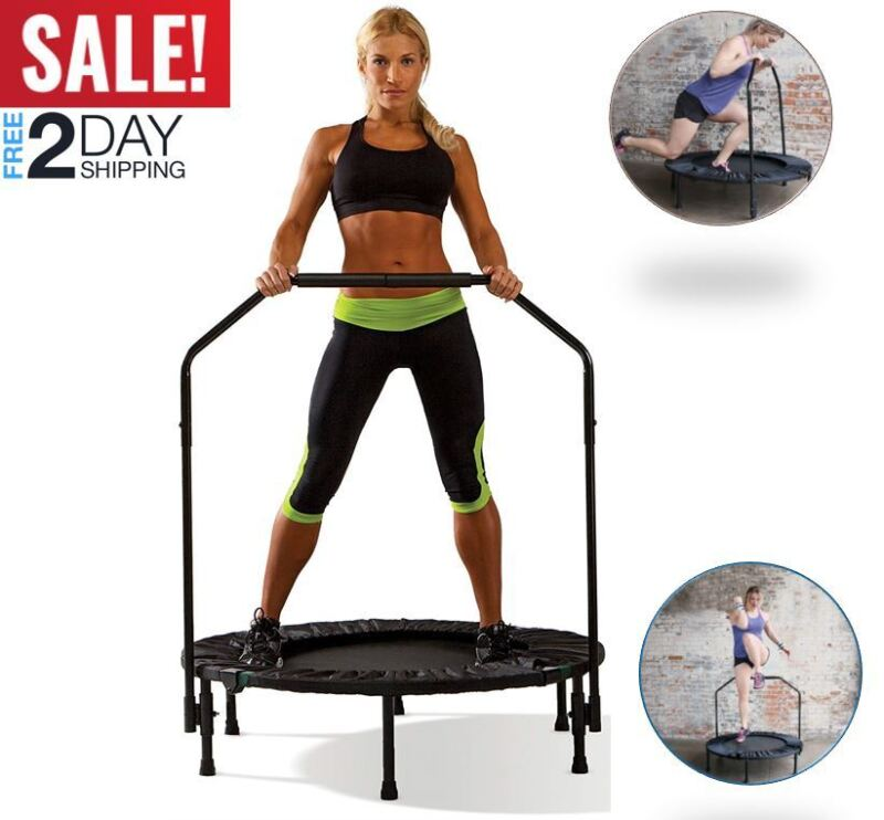 Upper Bounce Fitness Mini Trampoline With Adjustable Hand Ra
