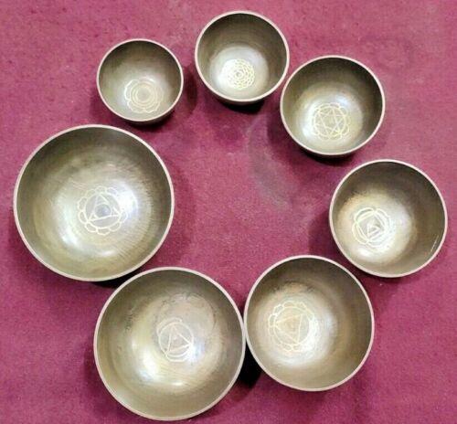 Singing Bowls  ~7 Chakra Symbols Etched  ~ Set of 7 Singing Bowls