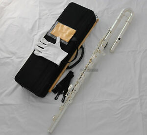 Professional Silver Plated Bass Flute C Key Off Set G Italian Pads With Case