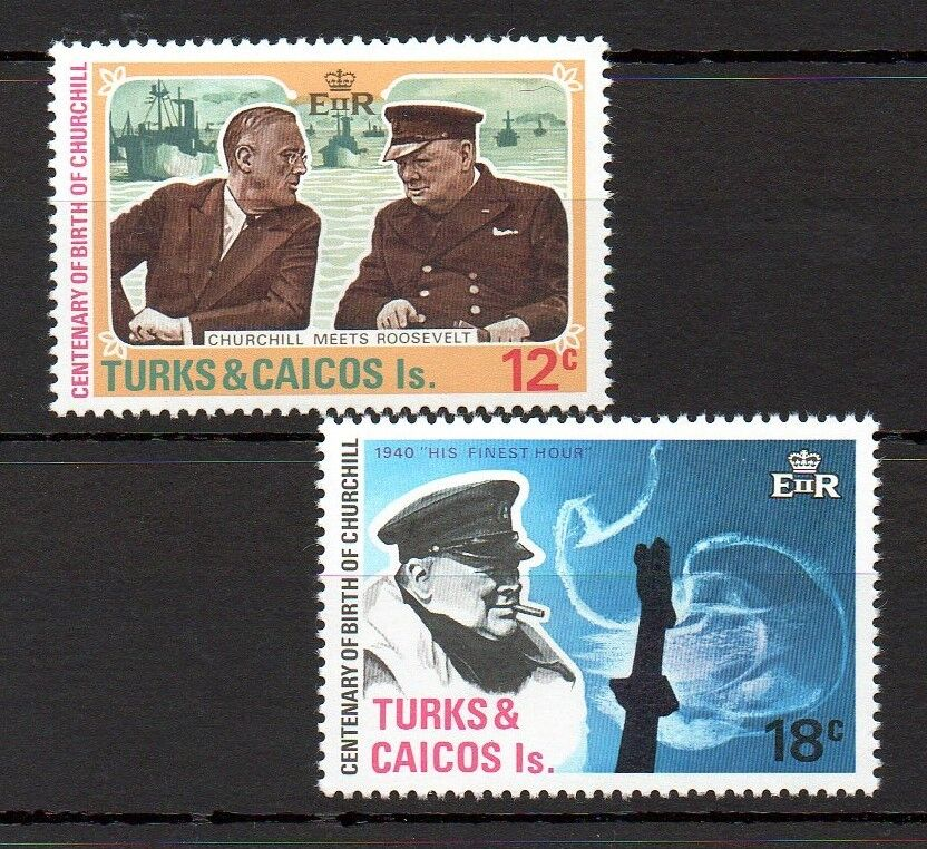 Turks & Caicos 1974 Churchill Centenary MNH set S.G. 430-431