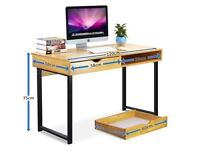 TWO Tribesigns 120cm Length Laminate Wood Effect Computer Desk with 2 Drawers - Possible Delivery